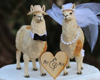 Llama Cake Topper, Animal-Farm-Funny-Wedding-Bride-Groom-Unique