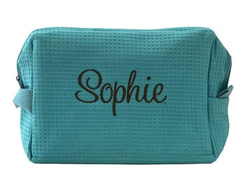 Personalized Waffle Weave Cosmetic Bag - Personalized Make Up Bag- Monogrammed Gift For Brides, Bridesmaids and Flower Girls
