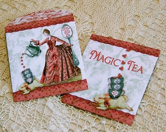 Digital Tea Bag Envelopes Or Candy Wrapper - INSTANT Download - Printable Tea Party Favor - Magic Tea Lady Bunny Design - Two Designs CS51GB