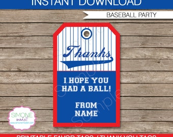 Baseball Favor Tags - Thank You Tags - Birthday Party Favors - INSTANT DOWNLOAD with EDITABLE text template - you personalize at home