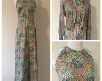 Vintage 1960s Halter Maxi Dress with Matching Jacket