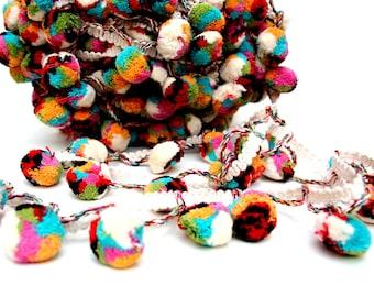 Pompom Lace,Cotton Mutli Colored Pom Pom Trim, Indian Pom Pom, Scarf Pompom Trim, Pompom Fringe, 5 Yards, Boho,Home Decor