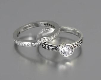 AUGUSTA 14k gold Moissanite engagement ring & wedding band set