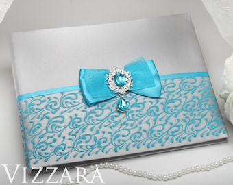 Wedding guest books Turquoise and grey wedding Personalized guest book Grey wedding Elegant wedding guest book Grey tux wedding