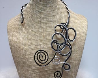 Jewelry necklace silver and Black Aluminum adjustable