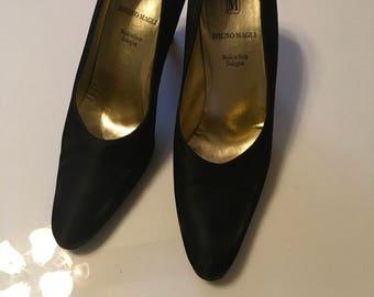 Bruno Magli 1960's black satin and leather pumps 8.5