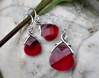 Ruby crystal briolette necklace & earring set  - fuchsia magenta pink - Swarovski crystal, sterling silver - free shipping USA