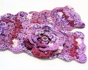 Lavender, Purple and Fuchsia Crochet Scarflette, Buttoned Scarflette, Buttoned Neck Warmer, SC144-01