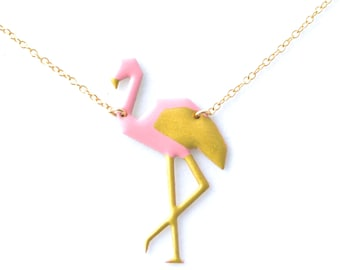 Flamingo Pink or white and gold origami pendant