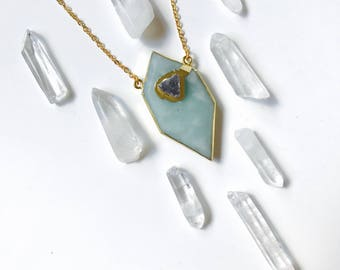 Amazonite Shard & Druzy Crystal, 14K Gold Necklace with Natural Stone