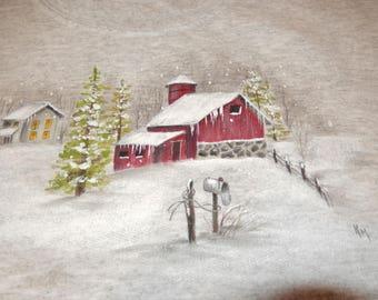 Snowy Barn Scene on Heathered Ash Gray Sweatshirt