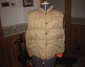 vtg goose down Redhead reversible  vest mens large tan and blaze orange