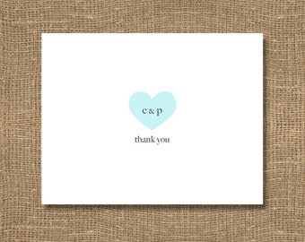 Personalized Wedding Stationery | Heart Thank You's | Wedding Thank You Note | Thank You Shower Card | Wedding Thank You Cards | Card Set