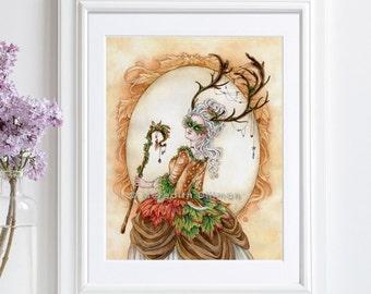 Autumn Faun art, faerie, Autumn leaves, watercolor art print, Masquerade Ball, antler headdress, fantasy art print, 8x10