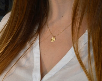 Medal and fine chain gold filled necklace * 14 k
