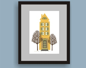 Mustard House-  Folk Art Original Print  by C Wiedenheft comes with a white mat and ready to frame.