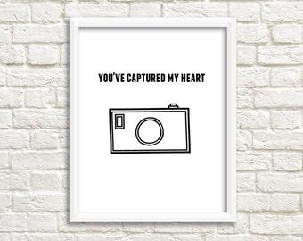 You've Captured My Heart Camera Printable Nursery Print Modern Prints Printable Art  Instant Download Printable Decor Art Prints Wall Art