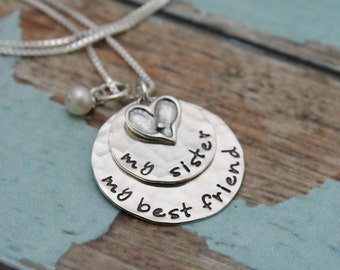 My Sister, My best friend, Sister Necklace, Sister Gift, Sisters Necklace, Sisters Gift, Hand Stamped Sister Jewelry, Sibling Jewelry