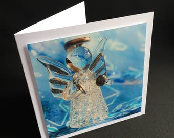 Christmas card glass angel with cymbals-Angel with musical instrument