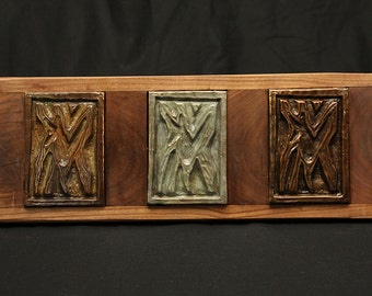 Fox Relief, bronze and walnut, wall art.