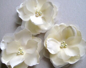 SALE - Ivory flower with pearls or rhinestones - READY to SHIP