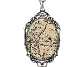Map Pendant Pittsburgh PA Oval Filigree Pendant Pennsylvania Necklace Art Pendant Graphic Pendant