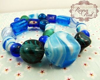 Blue Green Marbled Lampwork Glass Inspiration Set, bead strand, focal, inspiration for jewelry designs, jewelry making - reynaredsupplies