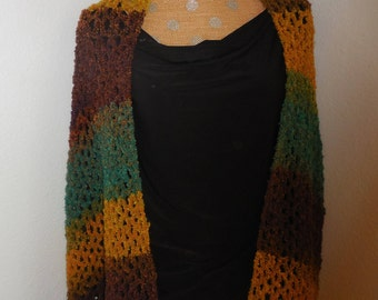 Shawl/Wrap Done in Variegated Colors of Blues, Golds an Browns