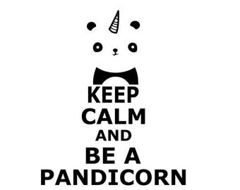 """""""Keep calm and be a pandicorn"""" stickers"""