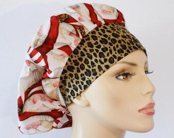 Holiday Scrub Hats Medical Bouffant Scrub Hat - Cheetah Santa with a Cheetah Headband