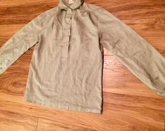 Vintage 1980s Pale Green Blouse, UK 10