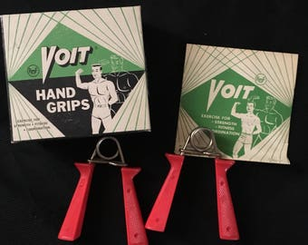 Vintage Lot AMF Voit Hand Grips NOS Box Manual Red