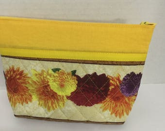 Flower Cosmetic Bag - Wallet - Clutch - Zipper Pouch -  Makeup Bag - Travel Bag - Zippered Wallet - Wristlet