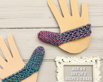 Ready to Ship - Set of 2 Thumb Guards - Purple and Green Ombre - Crocheted Cozy to Help Stop Thumb Sucking - Age 4-5