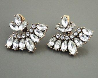 Ear Jackets - Gold Earring Jackets - Gold Earrings - Crystal Earrings - Stud Earrings - Bridal Earrings - Boho Earrings - Trending Earrings