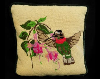 needlepoint pillow -humming bird decor - couch pillow - throw pillow - humming bird pillow - decorative pillow  - Cottage decor pillow -# 26