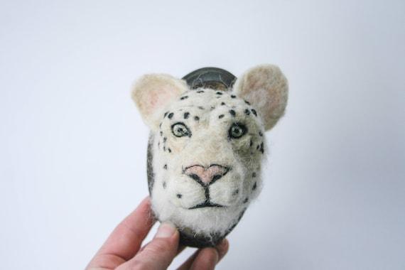 Snow Leopard Felt Sculpture
