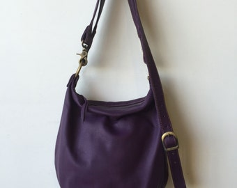 Slouchy Sanko Bag- Ready to Ship- Purple Leather Bag- Purple Crossbody Bag- Heart Work Collection- Violet Leather- Purple Slouchy Bag