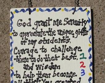 Teacher Gifts God Grant me Serenity Teacher Prayer