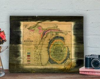 Michigan Map Art - Historic Wood Map
