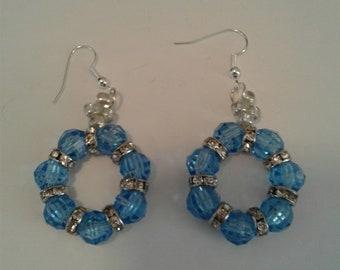 Blue rounds dangel earrings