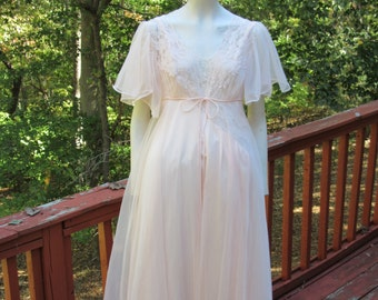 Blush Lingerie Set -Small -Val Mode Nightgown w/ Front Slit -Short Sleeve Sheer Robe -1960 Peignoir Set -Honeymoon Lingerie- Mother's day