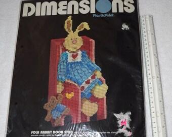 Vintage NEW DIY Door Stop Folk Rabbit Plastic Needlepoint Bunny - add a Brick