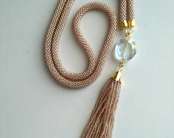 Vintage Bead Rope Lariat Necklace Crocheted Seed Bead Necklace with Tassel