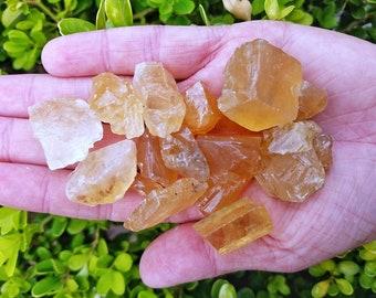 1LB Bulk Lot Honey Calcite / Citrine Untumbled Raw Uncut Stones | Crystal Healing | Yellow/Orange Calcite Crystal