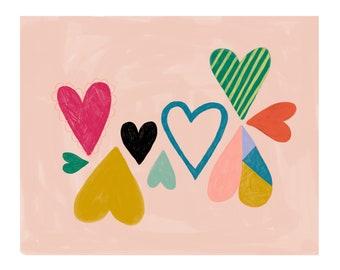 Heart Nursery Art, Pink Nursery Decor, Girls Bedroom Wall Decor, Modern Nursery Prints, Baby Room Art, Baby Shower Gift Girl, Heart Wall Art