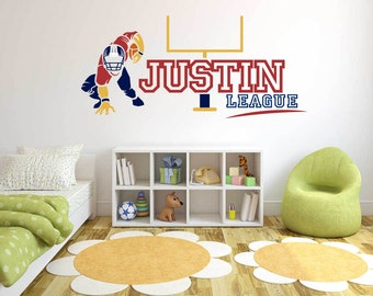 Custom Name Football player  - Football   -  Wall Decal For Home Nursery Decoration