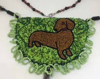 Small dog necklace, Bead embroidered necklace, beaded necklace with dachshund, statement jewelry, gift for her, gift for dog lover, OOAK