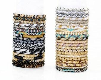Wholesale Nepal Roll On Bracelet Grab Bag Neutral & Metallic Hues, Glass Seed Bead Bracelets, Gypsy Yoga Bracelets, Wholesale Bracelets