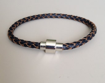 Navy Leather Bracelet with Magnet Clasp, Navy Braided Leather Bracelet,  Women's Bracelet, Teenager Bracelet, Men's Bracelet - Blue Bracelet